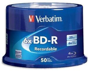 100 VERBATIM 6X Blu-Ray BD-R 25GB Branded Logo Spindle Media Disc 98397