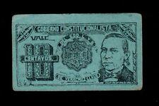 MEXICO 10 CENTAVOS  1915   GOBIERNO CONSTITUCIONALISTA PICK # S1092 XF.