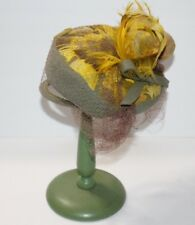 Vintage Hat Stand - Hat Display - Antique Green Hat Stand - with hat