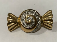 Vintage signed Roman Candy Brooch Pin In Enamel & Gold tone Metal w/ crystals