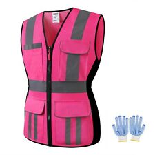 High Visibility Women Safety Vest Reflective Breathable Mesh Work Vest For Lady