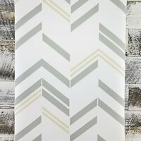 Gray Tan White Contemporary Chevron Stripe Peel and Stick Designer Wallpaper DIY