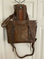 NEW - TRINITY RANCH Embossed Leather Concealed Carry TOTE/CROSSBODY w/WALLET