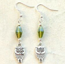 Sterling Silver Hook Earrings with Owl Charms New Pair LB1055