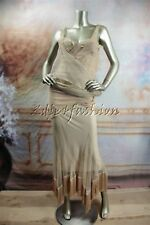 $5780 New with tags CHRISTIAN DIOR Beige Nude Mesh Lace Flared Fringe Dress 40 8