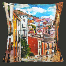 "Spanish Village Cushion Cover 16""x16"" 40cm Vintage Coloured Houses Old Mottled"