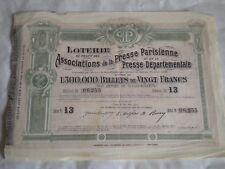 Vintage share certificate Stock Bonds loterie associations presse parisienne