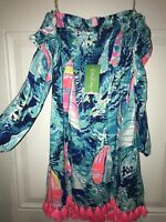 Lilly Pulitzer hey Bay Bay Off The Shoulder Dress XXS 00 0 NEW