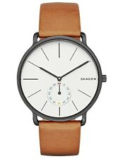 Skagen Para Hombre Hagen Reloj De Acero Inoxidable, Correa De Cuero, esfera blanca, SKW6216