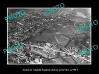 OLD POSTCARD SIZE PHOTO SUTTON IN ASHFIELD ENGLAND DISTRICT AERIAL VIEW c1930 2