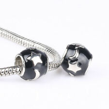 Stars Moon Black paint Charm Loose beads Fit Sterling Necklace Bracelet Chain