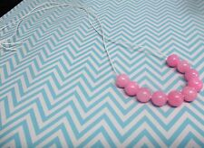 PINK AGATE BEAD NECKLACE (White) - NEW