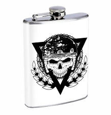 Flask Motorcycle Club Skull 01R 8oz Stainless Steel Hip Drinking Whiskey