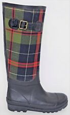 Women's J. CREW WINTER SNOW RAIN RUBBER BOOTS Sz 6 Plaid Navy Blue Knee High