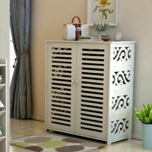 Wooden Shoe Storage Cabinet 4 Tier 2 Door Organiser Shoe Rack Cupboard Furniture