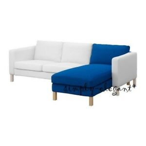 Ikea KARLSTAD Chaise Cover Add-on Chaise Lounge Slipcover in Korndal Medium Blue