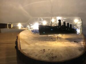 Titanic Bottle With Warm Lights Memorabilia Collector Birthday Present Christmas