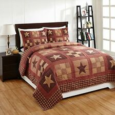 3Pc Bradford Star King Patchwork Quilt Set Bedding Package. Country Bedding