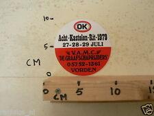 STICKER,DECAL V.A.M.C. DE GRAAFSCHAPRIJDERS VORDEN ACHT KASTELEN RIT 1979 OK CAR