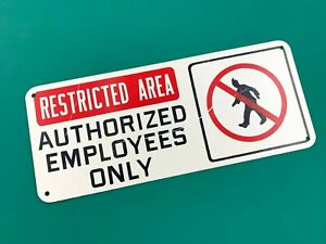 """VINTAGE Plastic Safety Sign """"RESTRICTED AREA AUTHORIZED EMPLOYEES ONLY"""""""