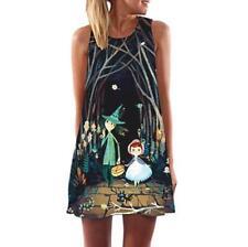 Vintage Boho Women Summer Sleeveless Beach Printed Short Mini Dress Top T Shirt #8 2xl