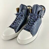 BUSCEMI Ronnie Fieg 110MM Blue & White Italian Leather High Top Sneakers Size 45