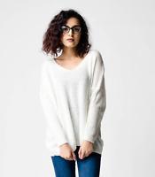 New ex ASOS Cream Oversized Relaxed Semi-Sheer Knit V Neck Jumper RRP£25 8 - 16