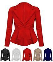 New Womens Crop Frill Shift Slim Fit Peplum Blazer Jacket Coat Ladies Size