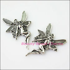 2Pcs Antiqued Silver Tone Dancing Angel Wings Charms Pendants 29.5x42mm
