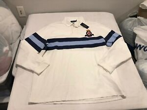 NWT $148.00 Polo Ralph Lauren Mens Greys Hall LS Rugby Polo White Size LARGE