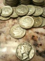 10 90% Silver Dimes: 9 Roos + 1 Merc: NO JUNK