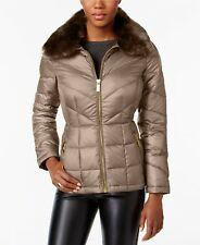 Kenneth Cole Faux-Fur-Collar Down Puffer Coat Thistle M $200 #43-69