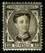 ESPAÑA 1876. Alfonso XII. 40 céntimos castaño negro. Nuevo*. Edifil 178.