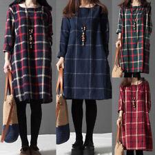 Autumn Womens Plaid Check O Neck Short Mini Dress Long Sleeve Casual Party Dress