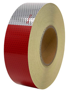 """2""""x150' Roll DOT-C2 Reflective Tape Glass Bead Safety Conspicuity 6"""" Red/White"""