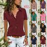 Women Summer T Shirt V-Neck Plus Shirt Loose Solid Casual Blouse Slim Lapel Tops