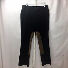 Lilly Pulitzer Black Riding Stretch Pants w/ Leather Patches Sz 12