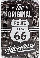 Originale Route 66 Avventura Goffrato Segno Del Metallo 300mm x 200mm (Na)