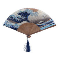 Bamboo Silk Folding Hand Fan Wedding Dance Party Prom Gifts Japanese Style