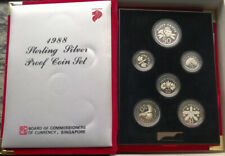 Singapore 1988 Mint Box Set of 6 Silver Coins,With COA