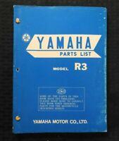 """1969 YAMAHA """"MODEL R3 350"""" RACING MOTORCYCLE PARTS CATALOG MANUAL NICE"""