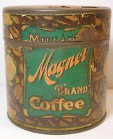Rare TINY SAMPLE SIZE Antique Old Vintage 1920s EB MILLAR MAGNET COFFEE TIN USA