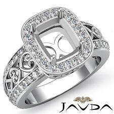 Halo Diamond Engagement Filigree Ring Platinum 950 Cushion Cut Semi Mount 0.75Ct