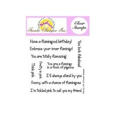 Flamingo Sentiments Cling Stamps Frantic Stamper Words Clear Stamp set