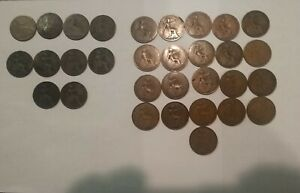 Lot of 31 British Large Penny Dates 1861 to 1934