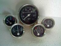 Gauges Kit - Speedometer 140 kph+Temp Elec+Oil Mech M10x1 Thread+Fuel+ Ampere