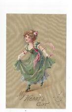 Antique udb Romantic Post Card Victorian Girl Dances Curtsies Swirl Background