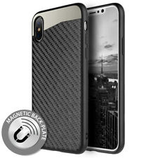 "For iPhone XS MAX 6.5"" Black Carbon Fiber Case Hybrid Magnetic Back Plate Cover"