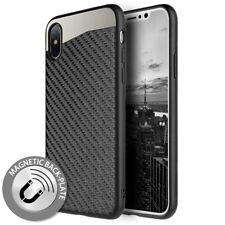 For iPhone X Hard Hybrid Magnetic Back Plate Skin Case Cover Black Carbon Fiber