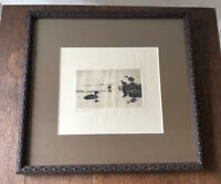 Antique FRANK BENSON Signed Sporting Art Drypoint Etching - The Visitor, 1918
